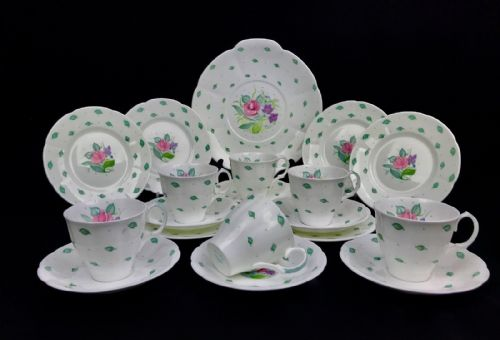 Susie Cooper Vintage Tea Set For 6 People / Trio / Mid 20th Century